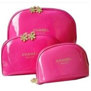 3 pcs set chanel makeup bag